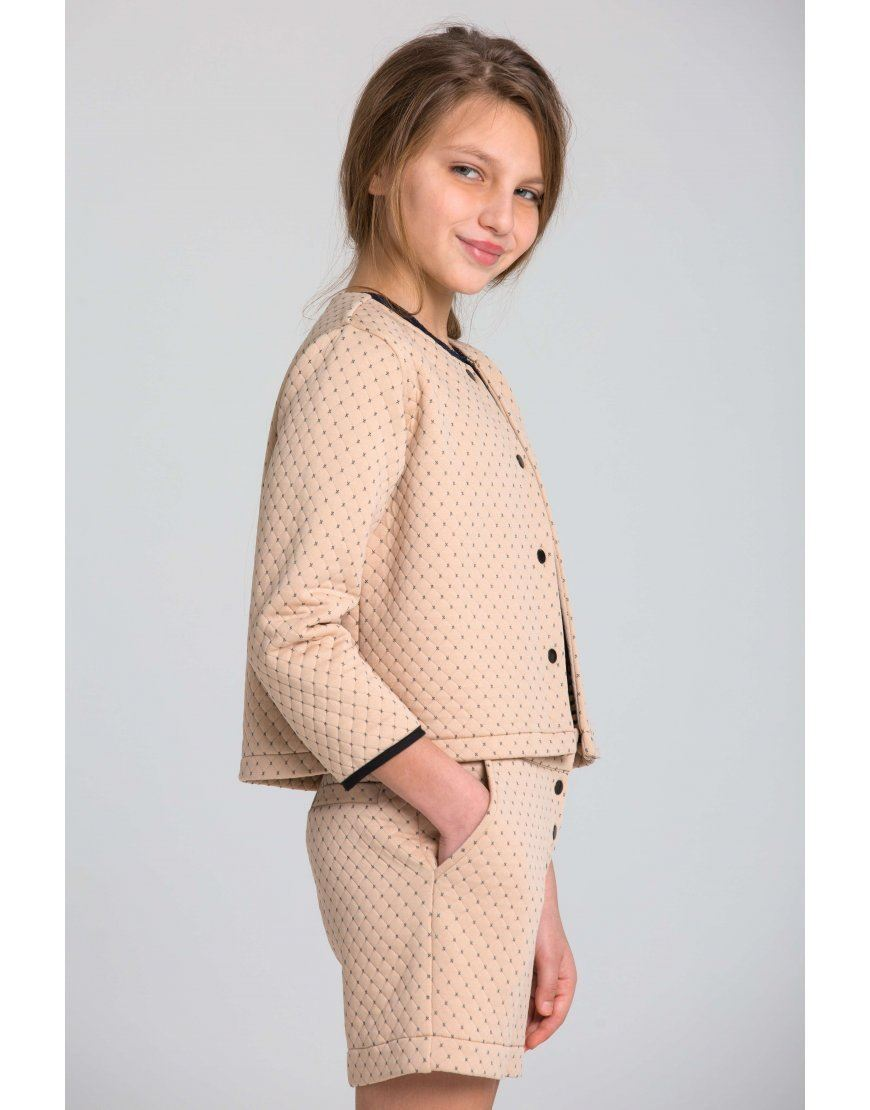 Quilted beige jacket for the girl