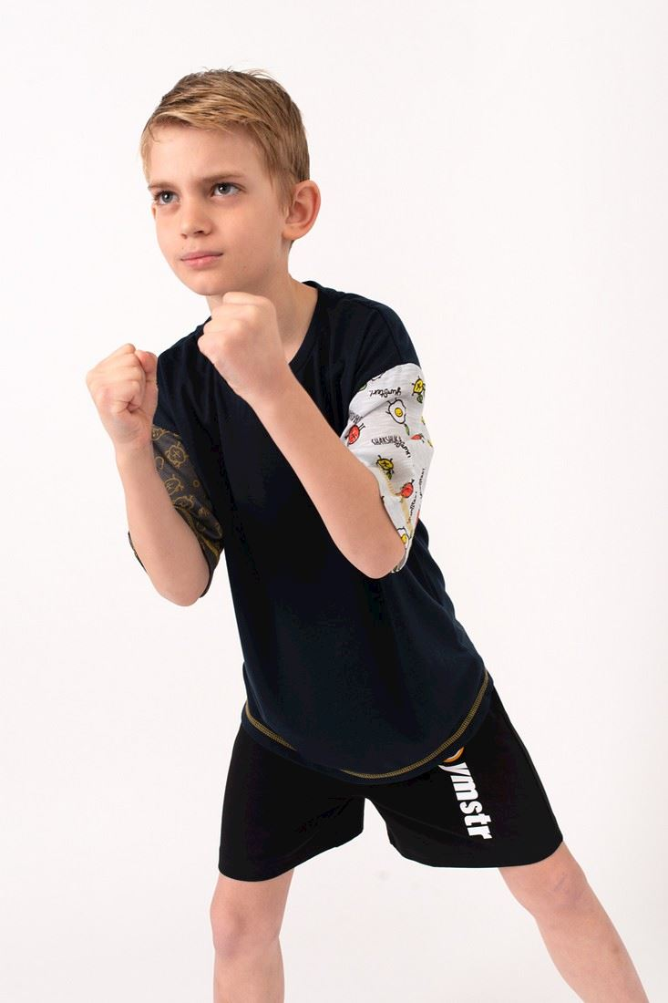 T-shirt black with different sleeves for a boy